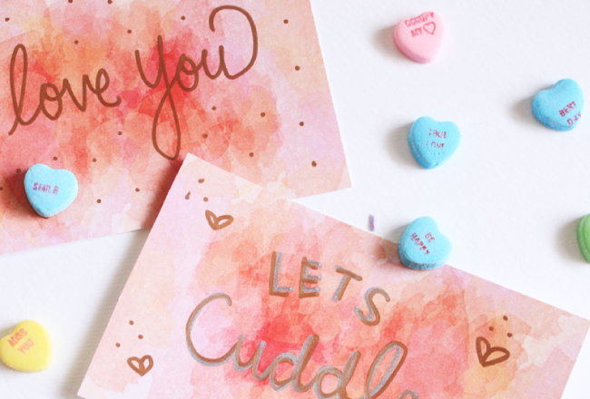 Watercolor Valentines Day Cards *FREE*
